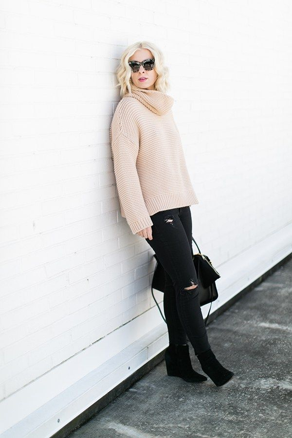 Nude sweater with black distress jeans and black leather purse outfit | Waiting on Martha