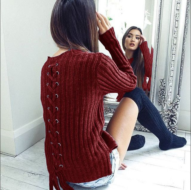 Women Sweaters And Pullovers Winter Back Bandage Solid Slim Fit Femininas Knitted Pullovers Sweater Women Clothing