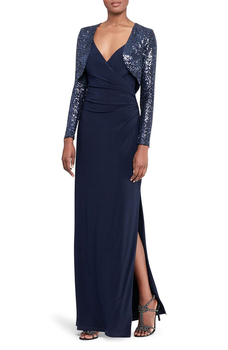 Lo lo lord and taylor party dresses - Ruched Faux Wrap Gown With Sequin Bolero