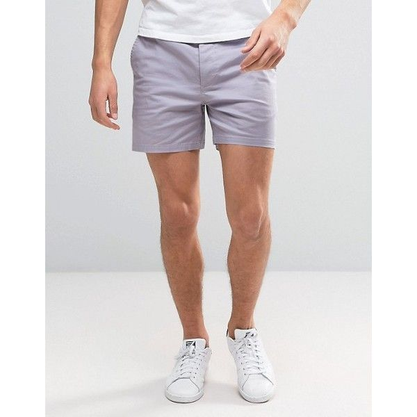 ASOS Slim Shorter Chino Shorts In Lilac ($28) ❤ liked on Polyvore featuring men's fashion, men's clothing, men's shorts, asos mens clothing, slim and tall mens clothing, mens chino shorts, mens slim fit chino shorts and tall mens shorts