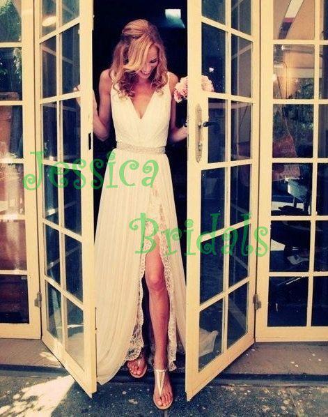 Sexy split chiffon lace wedding gown/beach wedding dress prom gown evening dress on Etsy, $327.89 AUD