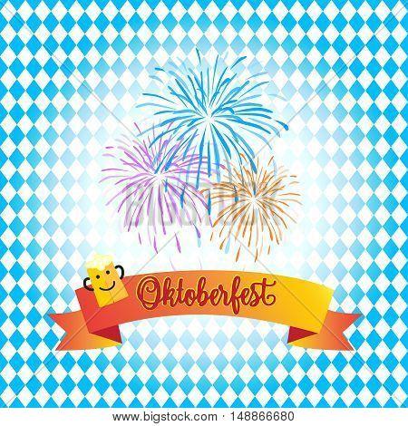 Oktoberfest Beer Holiday background. Vector. Oktoberfest fireworks and Ribbon banner and beer mug on Bavarian flag blue pattern. Traditional Beer festival Germany.