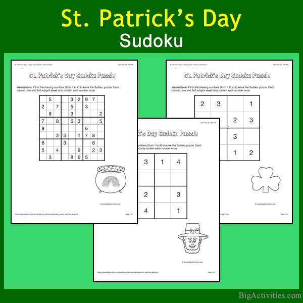 Love Sudoku puzzles? Try our St. Patrick's Day Sudoku puzzles (Great for the kids with lots of difficulty levels to choose from!)