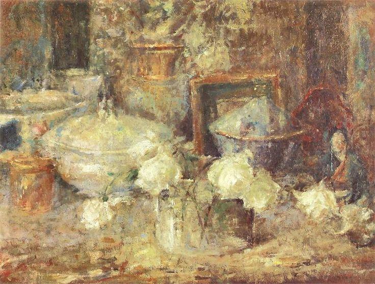 The Athenaeum - Still life with White Roses and Japanese Doll (Olga Boznańska - )