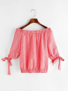 Shop Gingham Bardot Neckline Tie Sleeve Top online. SheIn offers Gingham Bardot Neckline Tie Sleeve Top & more to fit your fashionable needs.