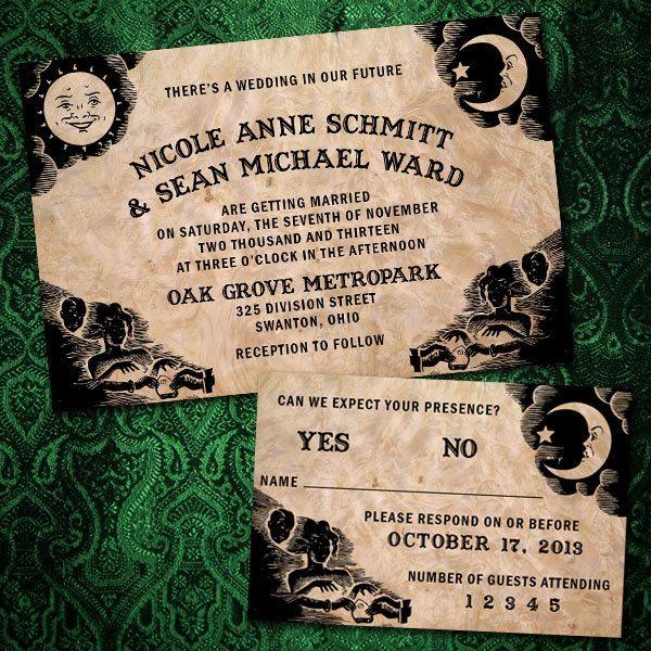 102 best Halloween Wedding invitations, stationary, & bottle labels ...