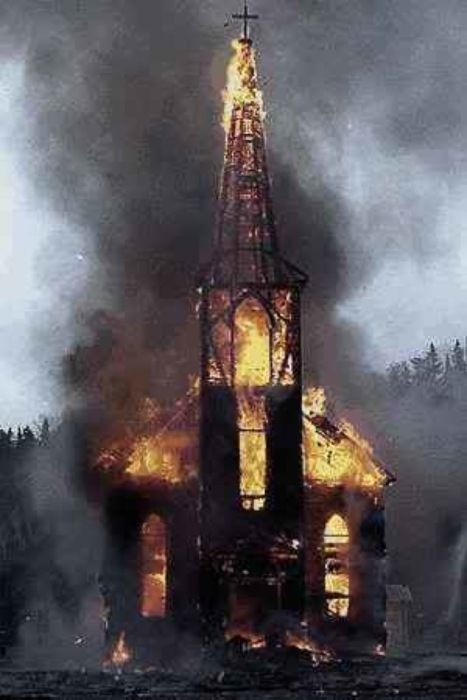 Norwegian church...  burning!    -l-   !   (Mena  =)