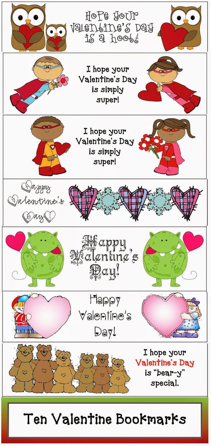 Valentine bookmark to color - Classroom Freebies Valentine Bookmarks