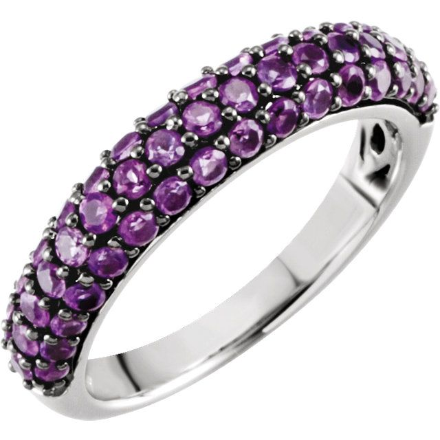 Stuller 14kt White Gold with Amethyst Ring Style: 651524:101:P
