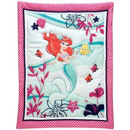 Make this adorable bedding part of your world. The Little Mermaid – Ariel –  is pretty in pink in this sweet undersea themed bedding set! The comforter features Ariel and appliqued Flounder with fish friends on a soft blue background framed with fuchsia polka dots; the fitted crib sheet features a pattern of silhouetted Ariel's amidst stars of navy, fuchsia, and baby blue; and a coordinating, color-blocked dust ruffle in baby blue and pink polka dots completes the set.
