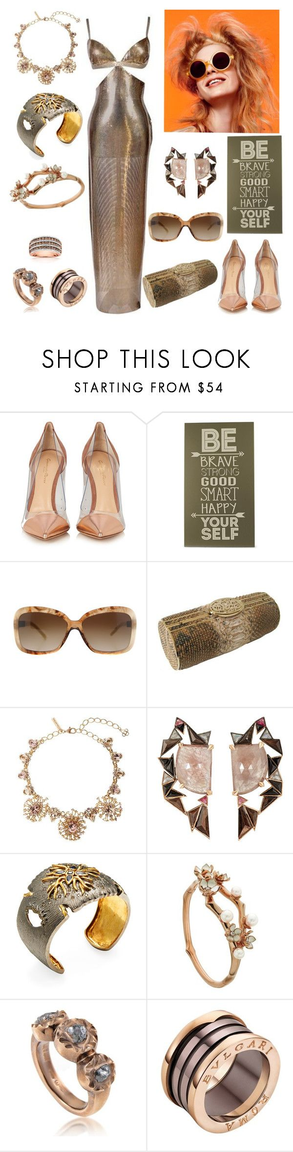 """""""Be Yourself"""" by christined1960 ❤ liked on Polyvore featuring Versace, Olsen, Gianvito Rossi, Home Decorators Collection, Burberry, NADA SAWAYA, Oscar de la Renta, Nak Armstrong, Artisan and Shaun Leane"""