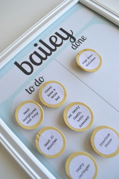 Super cute DIY Magnetic Chore charts for kiddos.  I love this one becuase it can be easily changed for whatever day of the week it is!  Including homework goals & regular daily activities like a shower or brushing hair / teeth might actually make my kiddo feel like she has accomplished more!  Thank you A Lemon Squeezy Home!