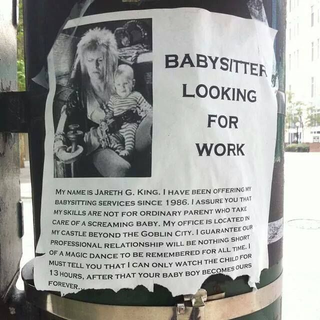 Labyrinth humor...Babysitter looking for work. JM. | Labyrinth ...