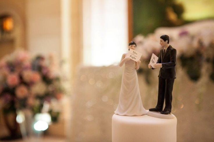 """Their Cake Toppers; """"Mrs Always Right"""" and """"Mr Right"""""""