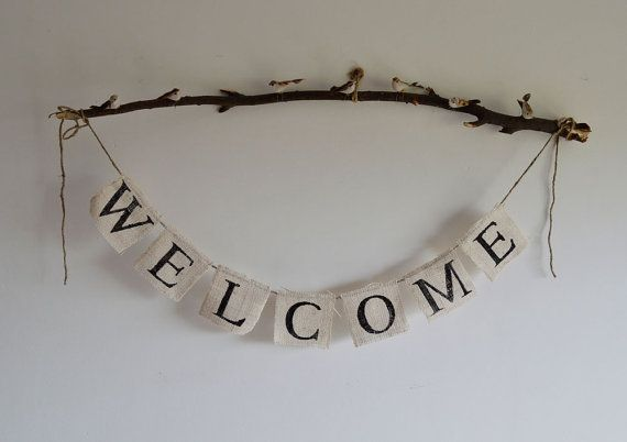 Welcome Banner  WELCOME on Burlap  Wedding Garland  by nungshee