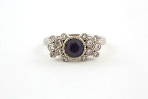 Sapphire and Diamond Engagement Ring - carey pearson designs