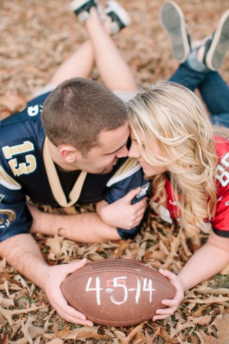 Save the date football style.... with his and her favorite teams on their jersey? adorable