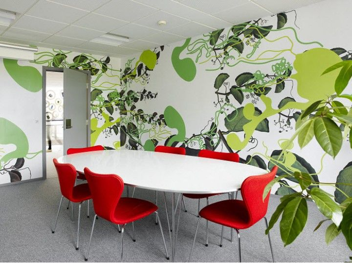 Modern Office Room With Plants Wallpaper ~ http://lanewstalk.com/modern-office-room-design-tips/