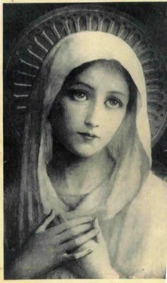 blessed-virgin-mary ( vintage holy card )  / Mary / Virgin Mother  / Holy / Blessed  / Art / Catholic / Antique / Vintage / Saint / Santo )