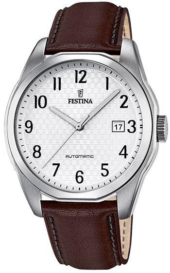 Montre Festina Automatic Homme - F16885/1 - Analogique - Cadran en Acier inoxydable Argent - Bracelet en Cuir Marron - Date - Etanche 10 bar