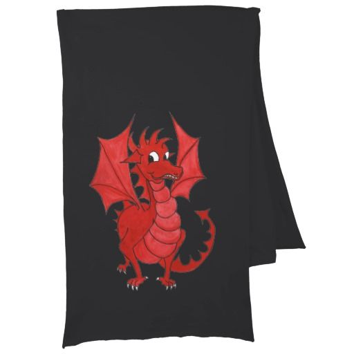 A stylish Black 'American Apparel' Cotton Jersey scarf, with a Cute Red Dragon, from a watercolour illustration by Judy Adamson: up to $22.95 - http://www.zazzle.com/black_cotton_jersey_scarf_cute_welsh_red_dragon-256259719302213018?rf=238041988035411422&tc=pintw