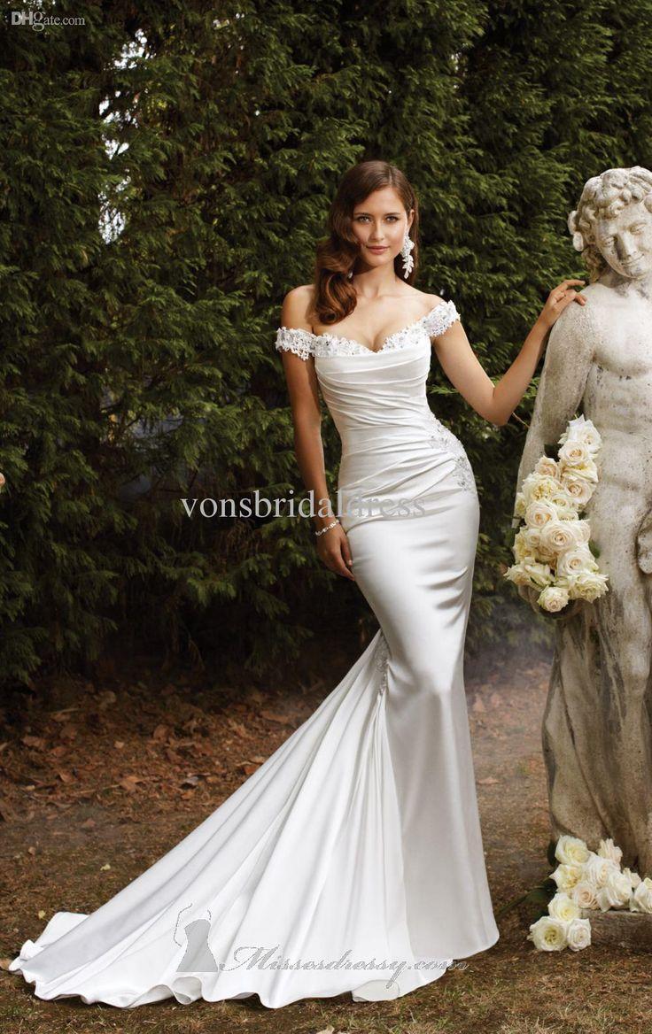 2014 Vintage Wedding Dresses Mermaid Off Shoulder Ivory White Satin Chapel Train Lace up Court Bridal Gowns