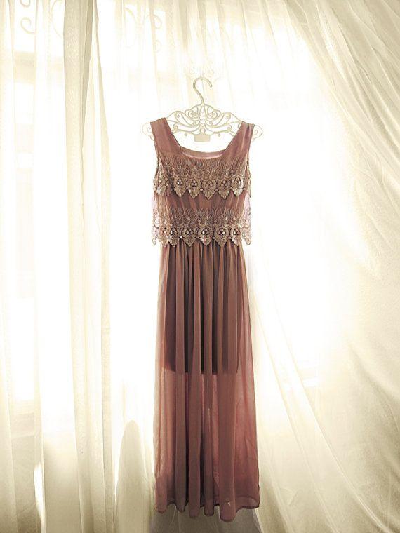 Autumn 1920s Great Gatsby Medieval Rusty Dusty Rose Plum Mauve Grecian Rust Wine Jane Austen Sequins Marie Antoinette Blush Maxi Long Dress on Etsy, $56.85
