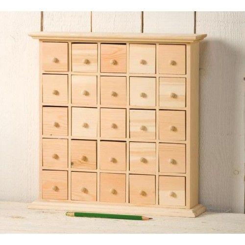 25 Drawer Plain Wooden Storage Box - Also Makes A Fantastic Advent Calendar !   Craftmill