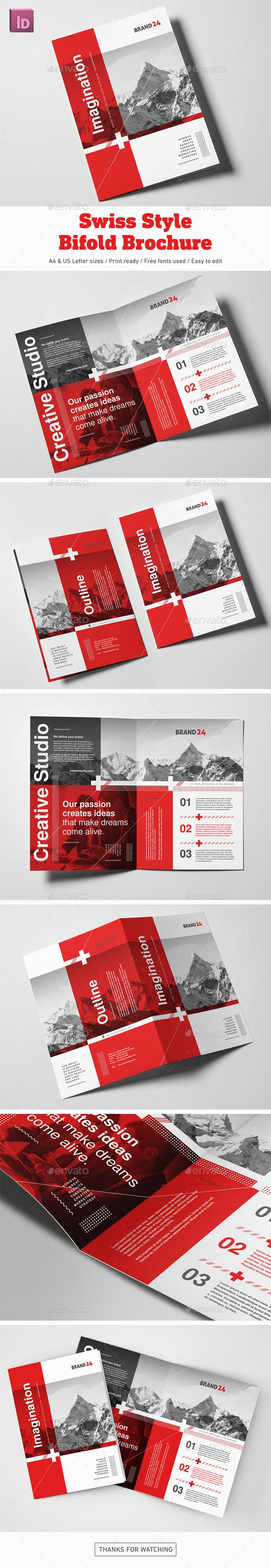 Swiss Style Bifold Brochure — InDesign INDD #indesign #corporate • Download ➝ https://graphicriver.net/item/swiss-style-bifold-brochure/20188414?ref=pxcr