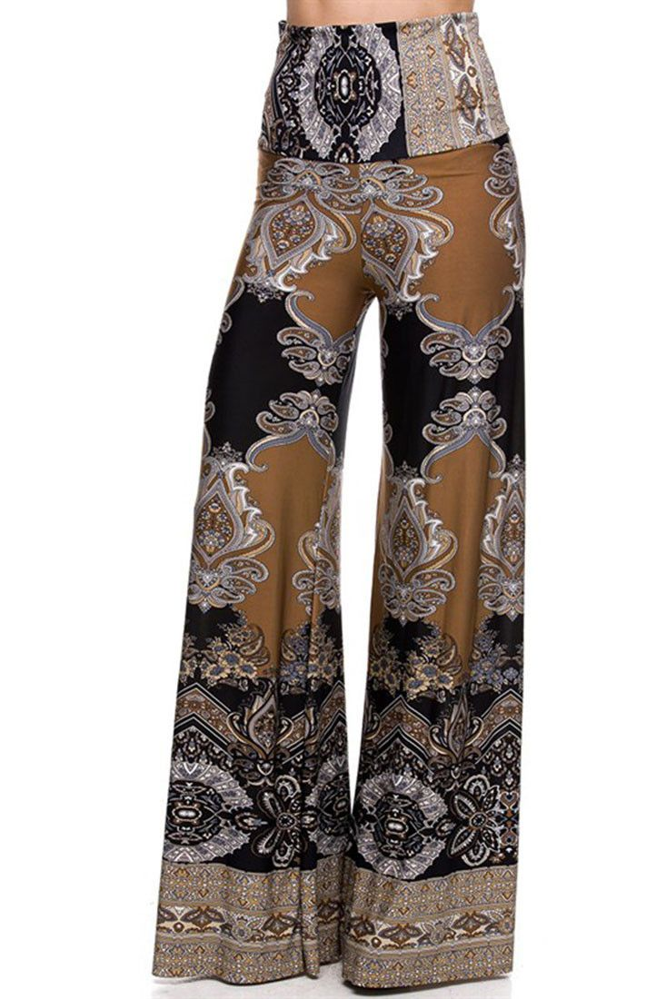 - Unique Printed Palazzo Pants - Banded High Waist or Fold Over - Fabric: 92% Polyester, 8% Spandex - Hemline made to cut to adjust pant length Waist Inseam Size Small 24-26 34 Medium 26-28 34 Large 2