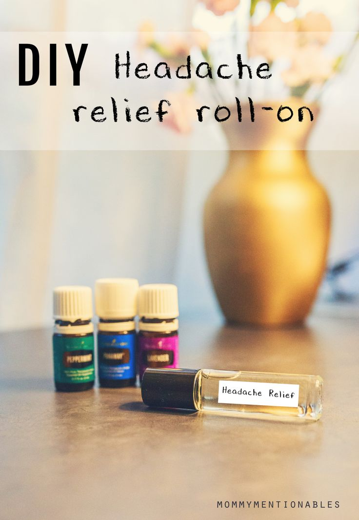 DIY Essential Oil Headache Relief Roll-on. Natural Remedy for Headaches MIgraines Tension. #headacherelief #migrainerelief #essentialoils