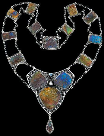 """LOUIS C.TIFFANY 1848-1933 Attrib.  An Important American Renaissance Necklace   Silver with filigree decoration, 0.5ct triangular cut rose diamond,  with plaques of Tiffany """"Cypriote"""" glass"""
