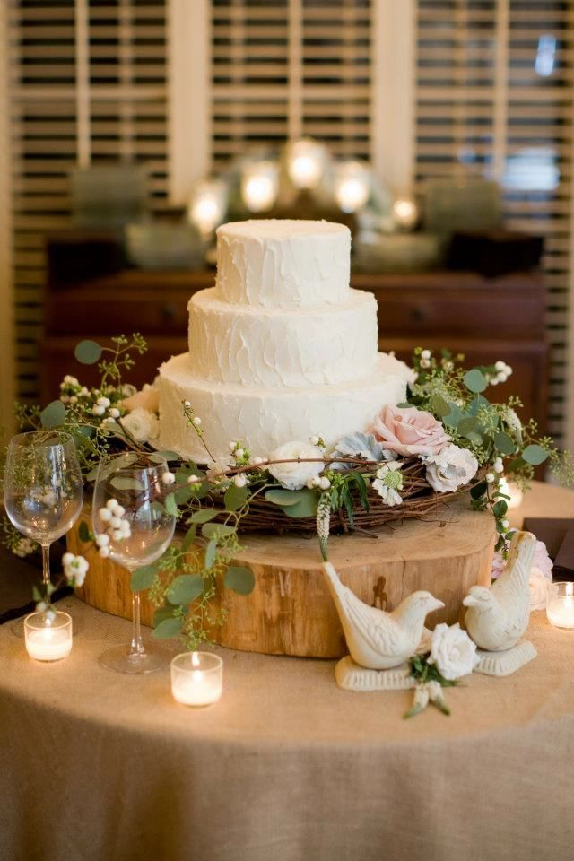 Would only be one layer cake and flowers would be scattered around cake (not wreath), but cake would sit just atop a similar wreath.