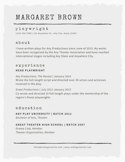 121 best CV images on Pinterest Graphics, Events and Interview - theater resume template
