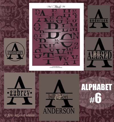 """DOWNLOADABLE ALPHABET 6 ... a full decorative vector alphabet with all 26 letters and an """"Mc"""". Fabulous for personalizing outside doors, walls, & tiles ... even shower doors @ My Vinyl Designer (http://www.myvinyldesigner.com/Products/alphabet-6.aspx)"""