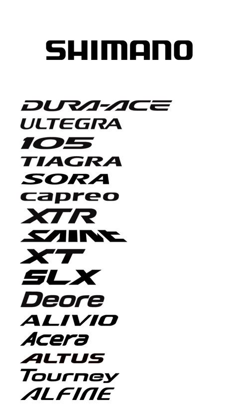 Shimano 2011 logo + typography of various groupsets for road, mountain, and hybrid bikes