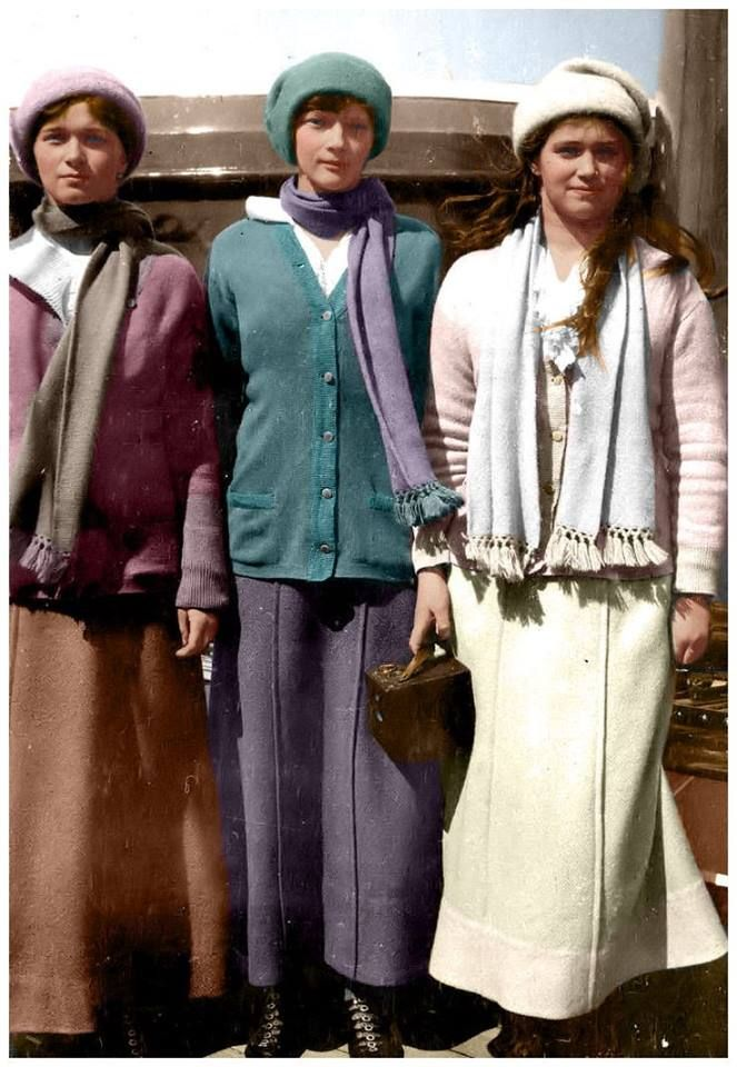 The Romanovs. Grand Duchesses Olga Nikolaevna, Tatiana Nikolaevna and Maria Nikolaevna of Russia aboard the Imperial yacht in 1914.