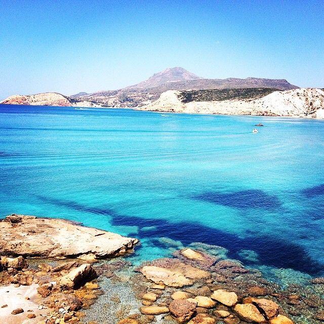 Wild nature beauty in Firiplaka beach , at Milos island (Μήλος) . Exotic & relaxing color of the sea .  Enjoy the Summer .