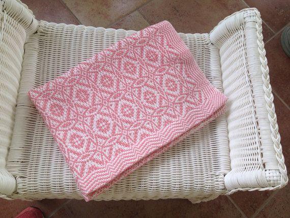 Handwoven overshot cotton baby blanket Maltese Cross. Custom! on Etsy, $175.00