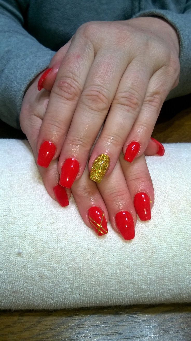 red gel, gold glitter and stripes
