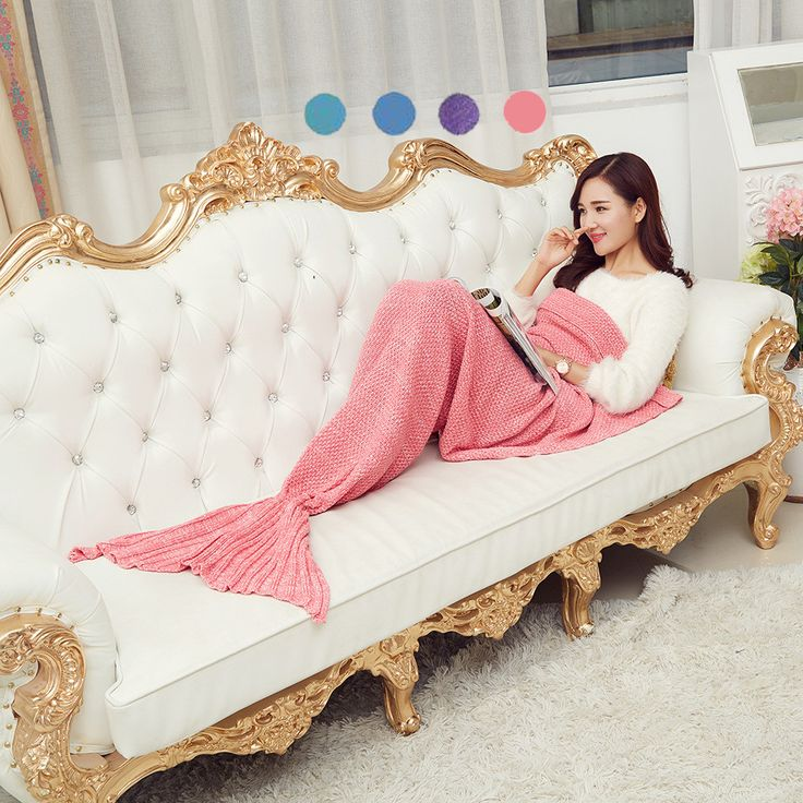 2016  Creative  Mermaid Tail Blanket Adult /child/baby Mermaid Blanket Knit Cashmere TV Sofa Blanket