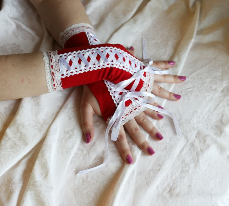 Red-white laced up gothic armwarmers fingerless gloves by AlicesLittleRabbit on Etsy