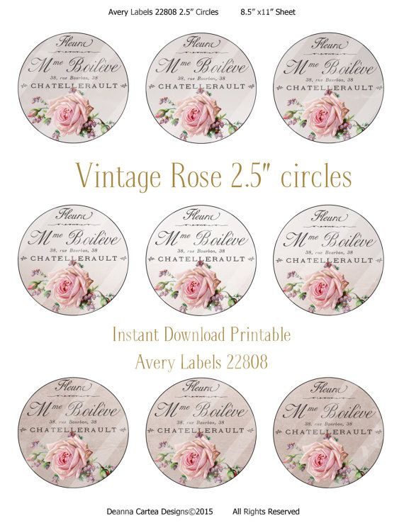 Vintage style printable 2.5 circles French shabby by DeannaCartea