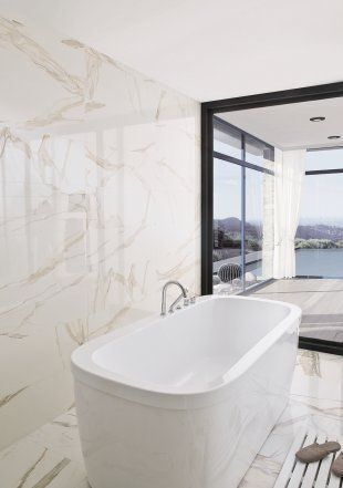 Carrelage en fa ence fa on marbre porcelanosa sol et - Faience salle de bain contemporaine ...