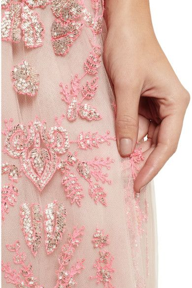 Pale-blush tulle Silver beads, neon-pink embroidery, partially lined Concealed zip fastening along back, concealed hook and eye fastenings at waist 100% polyamide; embroidery: 100% silk; lining: 91% silk, 9% elastane Specialist dry clean