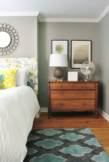 LOVE THE COLORS  Paint Color - Benjamin Moore Rockport Grey.  LOVE THE PAINT COLOR AND RUG.