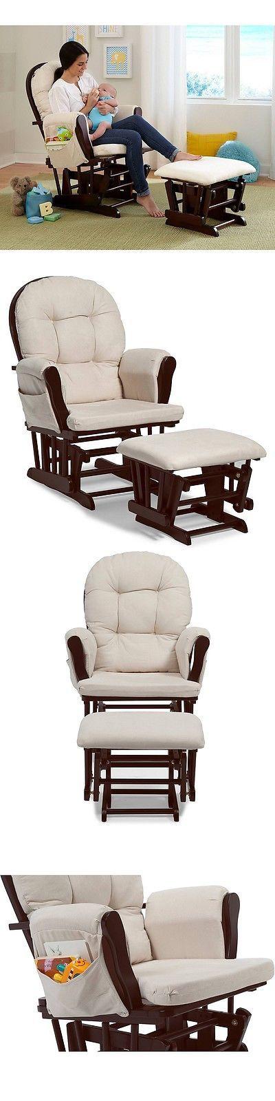 Baby Nursery: Glider Rocker Ottoman Set Chair Baby Furniture Rocking Nursing Seat Wood Cushion BUY IT NOW ONLY: $166.85