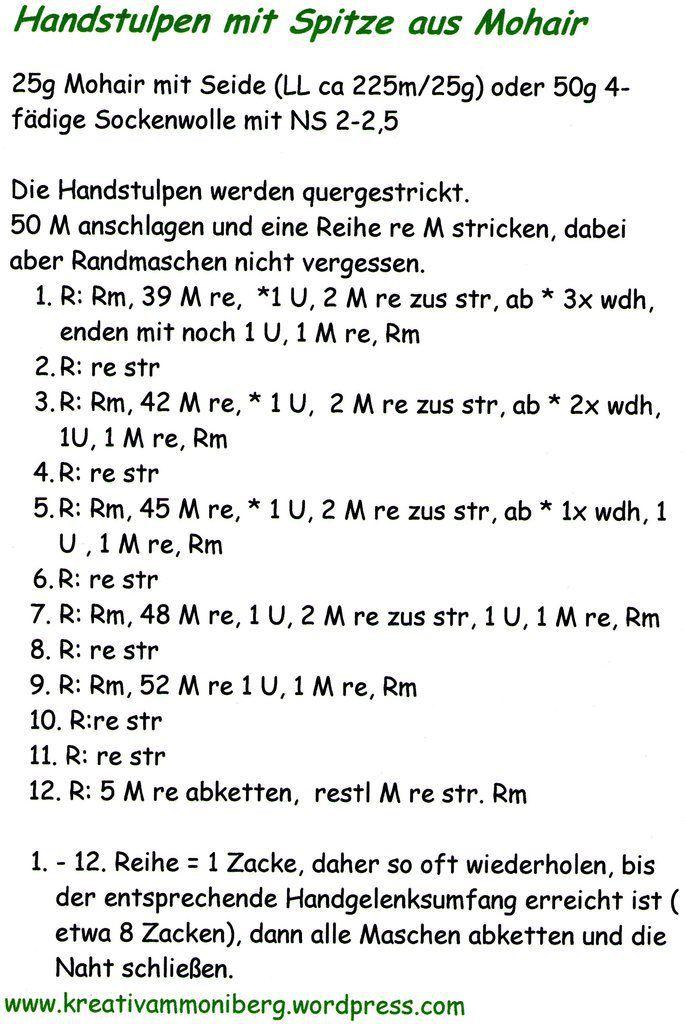 Feine Handstulpen aus Mohair mit Spitze stricken (Anleitung ...