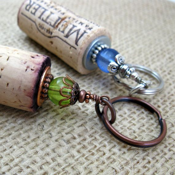 Cork Beads: Beaded Genuine Upcycled Wine Cork Keychain-Great For