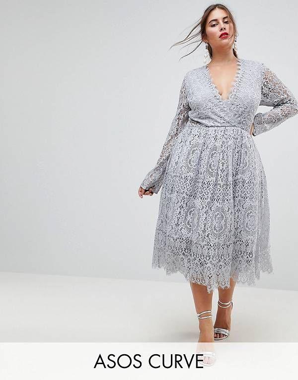 7b811c03393 ASOS CURVE Long Sleeve Lace Midi Prom Dress